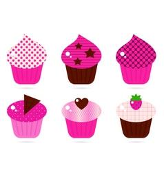 retro pink cupcakes vector image