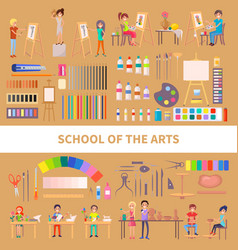 School of arts with diligent students vector