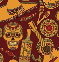 Seamless pattern with traditional mexican symbols vector