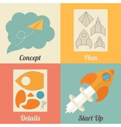 Set of start up icons for new business ideas vector image