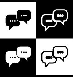 Speech bubbles sign black and white icons vector