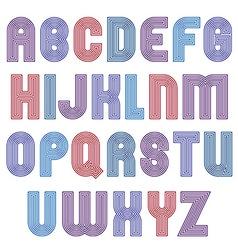 Stripy bright geometric script stylish typeface vector