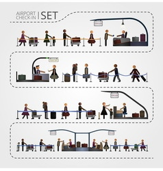 The set of airport check and registration desk vector