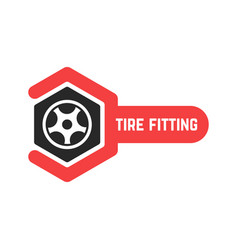 Tire fitting logo with wrench vector
