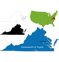 Virginia map vector image vector image