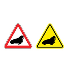 Warning sign attention walrus hazard yellow sign vector