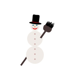 Snowman with broom on white vector