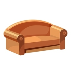 Soft sofa for living room icon cartoon style vector
