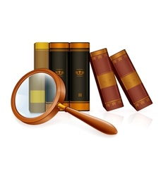Magnifying glass and books vector