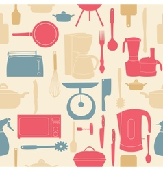 seamless pattern of kitchen tools for cookin vector image