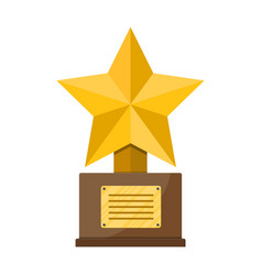 Trophy winner gold star cup with wooden base vector