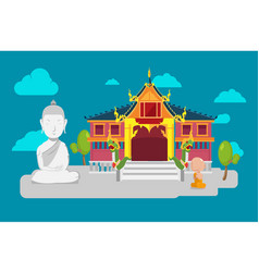 Thai temple flat culture background vector