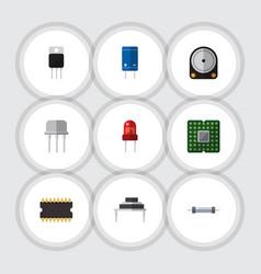 flat electronics set of hdd transistor vector image