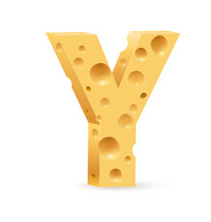 cheese font y letter on white vector image