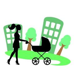 Silhouette of a woman with a baby carriage vector