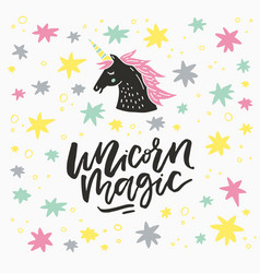 unicorn lettering vector image
