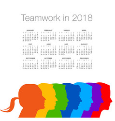 2018 calendar with a diverse group of people vector