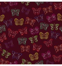 Seamless pattern with gradient butterflies vector