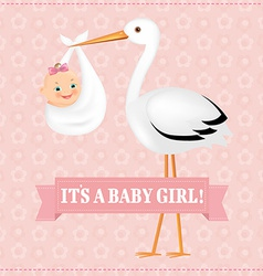 Poster stork with baby girl vector