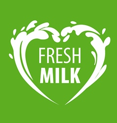 logo splashes of milk in the form of heart vector image