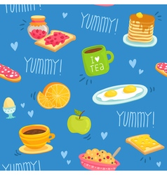 Seamless pattern with various breakfast products vector