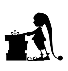 Elf silhouette and christmas gifts vector