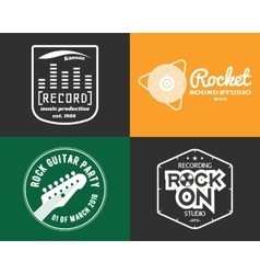 Music production studio logos set musical vector