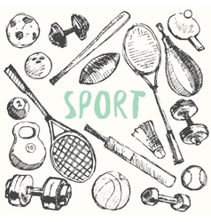 Sport equipment doodle set drawn sketch vector