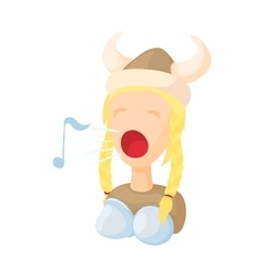 Opera singer icon in cartoon style vector