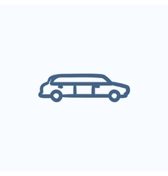 Wedding limousine sketch icon vector