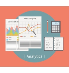 Analytic Business template with charts and graphs vector image