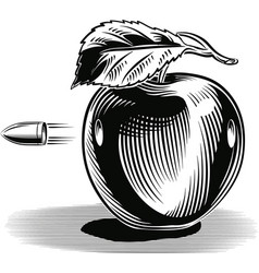 Apple hit by a bullet that pierces vector