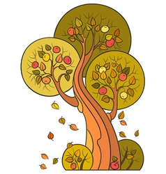 Autumn apple tree in decorative style vector image vector image