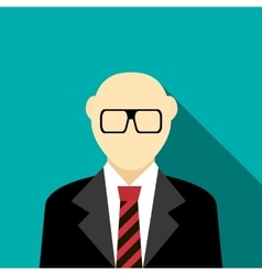 Bald man with a beard and glasses in suit icon vector