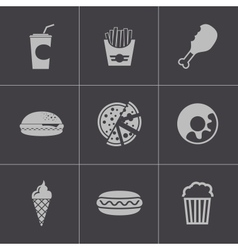 black fast food icons set vector image vector image