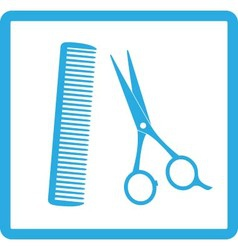 Blue sign of barbershop vector