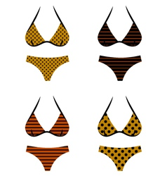 Brown retro bikini vector