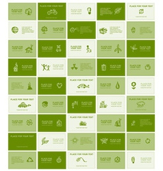 Business cards with ecology icons for your design vector image