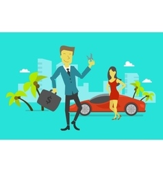 Businessman attained success car keys winning vector