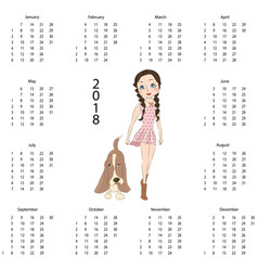 Calendar 2018 with dog vector