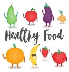 Cartoon fruits and vegetables healthy style vector