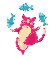 Cute pink cat smiling and juggling fish vector