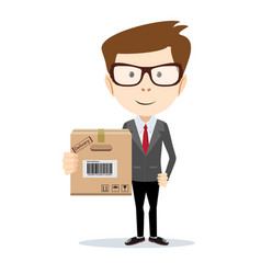 delivery man holding and carrying a cardbox vector image vector image