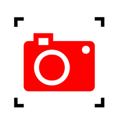 digital camera sign red icon inside black vector image