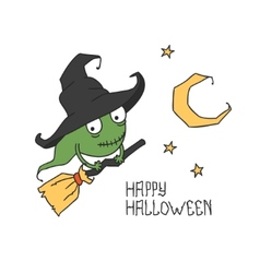 Happy halloween witch on a broomstick trick or vector