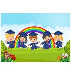 Happy little kids graduation celebration on rainbo vector
