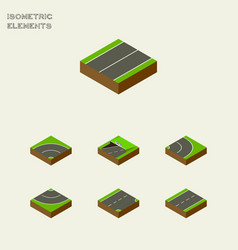 Isometric way set of road plane asphalt and vector