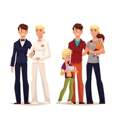 Lesbian wedding couple girl with a child vector