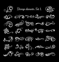 line vintage scroll items for ornate design vector image vector image