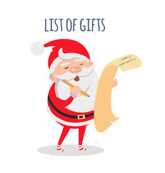 list of gifts santa claus with wish list vector image